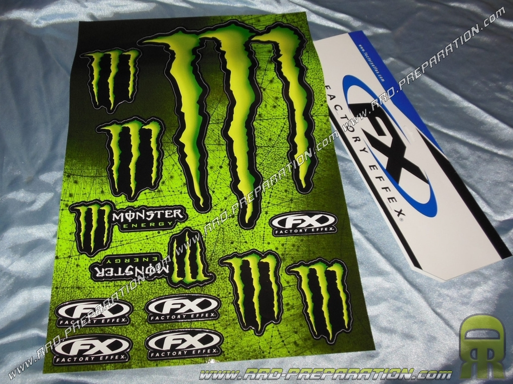 planche d 39 autocollants monster energy xl 49x33cm sur fond noir. Black Bedroom Furniture Sets. Home Design Ideas
