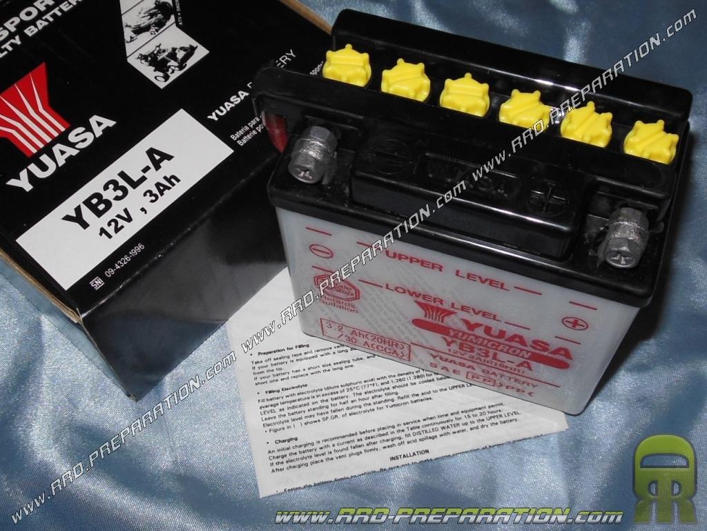 Batterie yuasa yb3l a 12v acide avec entretien pour moto - Acide pour batterie ...
