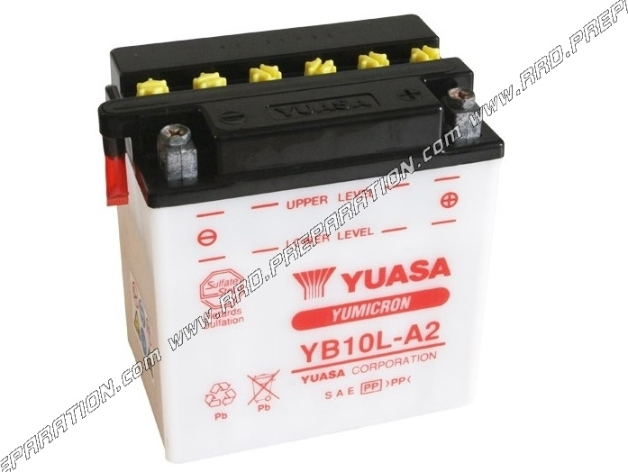 batterie yuasa yb10l a2 12v acide avec entretien pour moto m caboite scooters. Black Bedroom Furniture Sets. Home Design Ideas