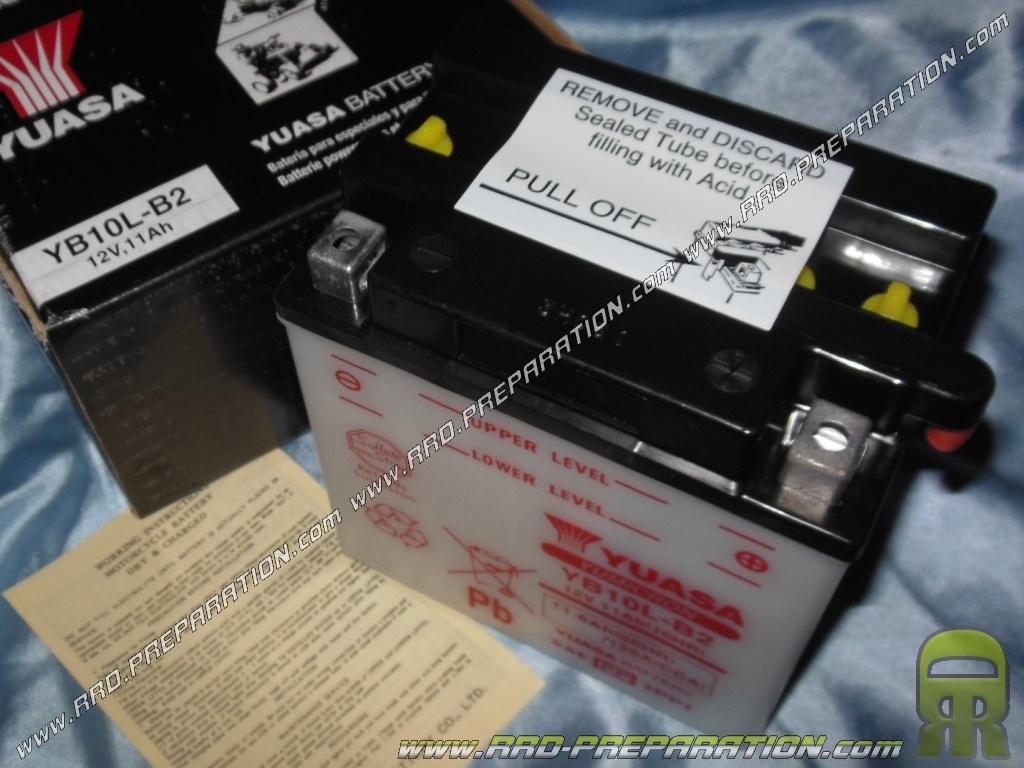 Batterie yuasa yb10l b2 12v 11ah acide avec entretien - Acide pour batterie ...