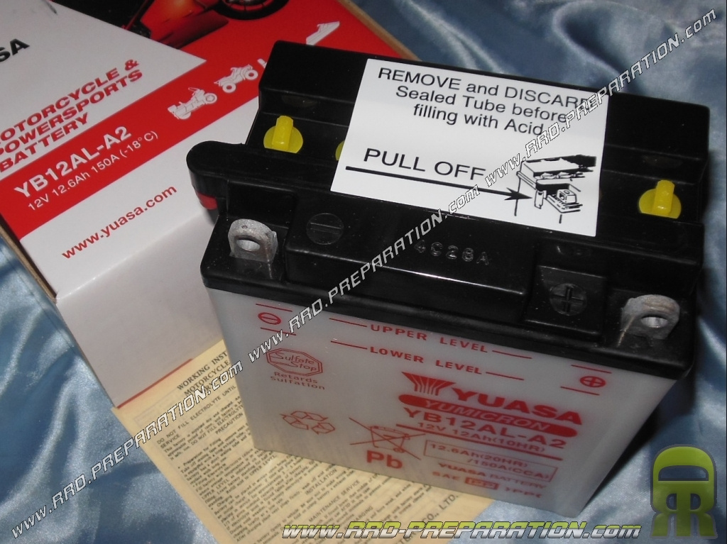 Batterie yuasa yb12al a2 12v 12ah acide avec entretien - Acide pour batterie ...