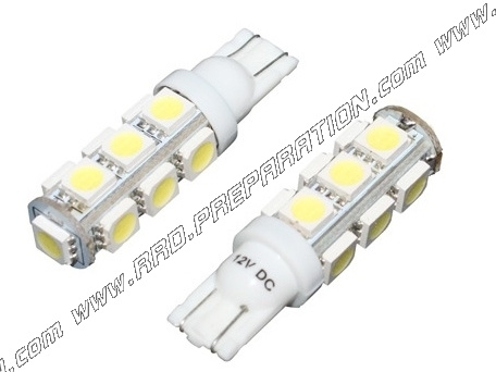 Flashing bulb pair p2r has led white lamp clips w2.1x9.5d 12v 10w
