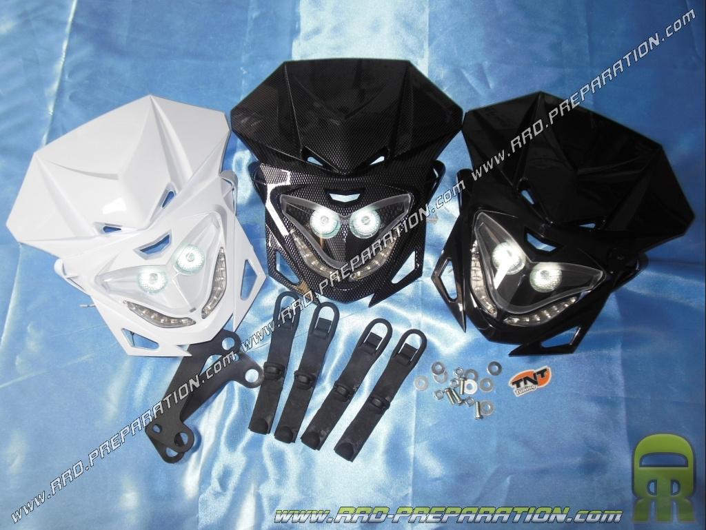 t te de fourche tnt enduro avec feux de jour pour moto mob noire carbone ou blanche www. Black Bedroom Furniture Sets. Home Design Ideas