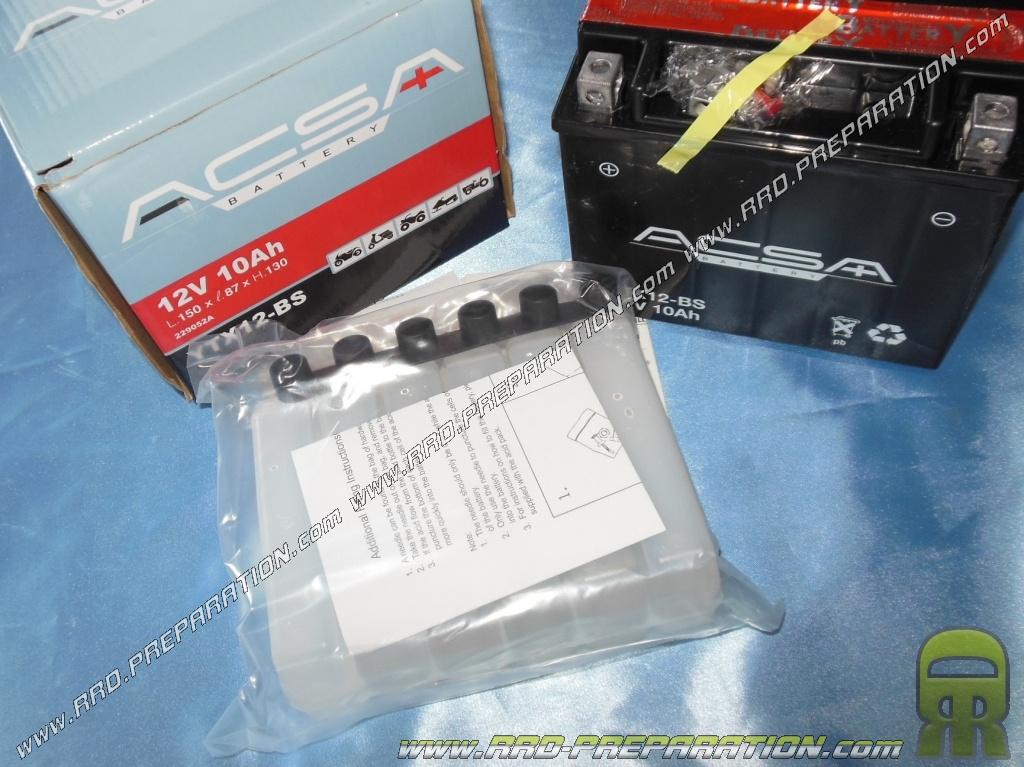 Batterie acsa ytx12 bs 12v 10a acide avec entretien - Acide pour batterie ...