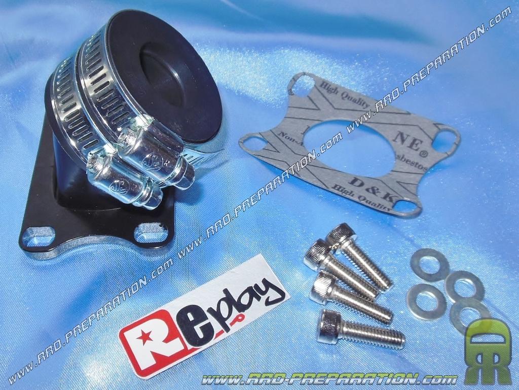 pipe d 39 admission replay en aluminium pour carburateur 17 5 19mm fixation 24mm pour. Black Bedroom Furniture Sets. Home Design Ideas