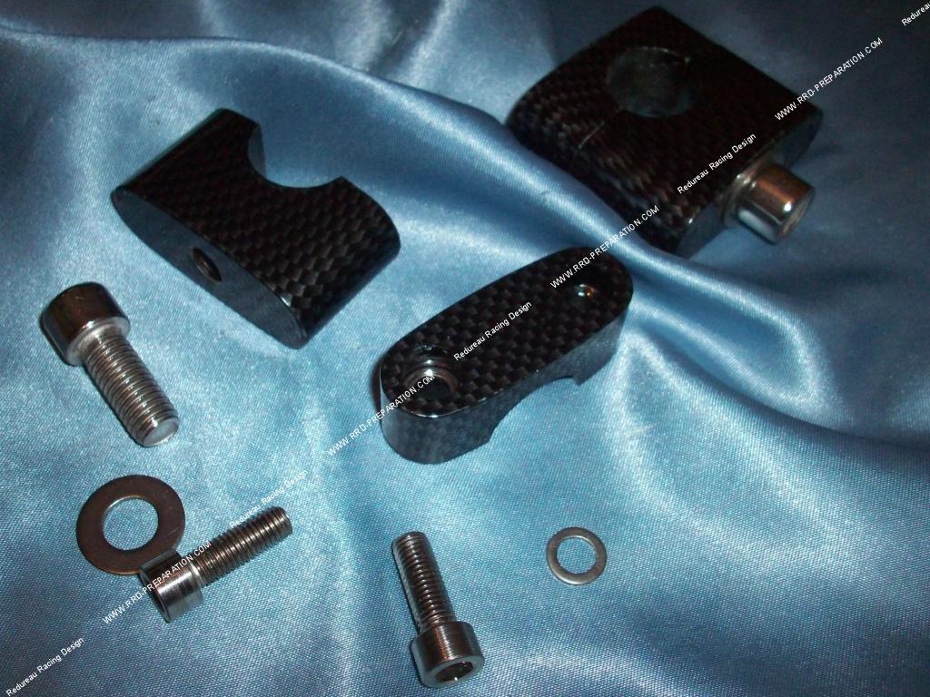 pontets fixation de guidon r hausse moyenne tnt tuning pour guidon 22mm bleu carbone ou. Black Bedroom Furniture Sets. Home Design Ideas