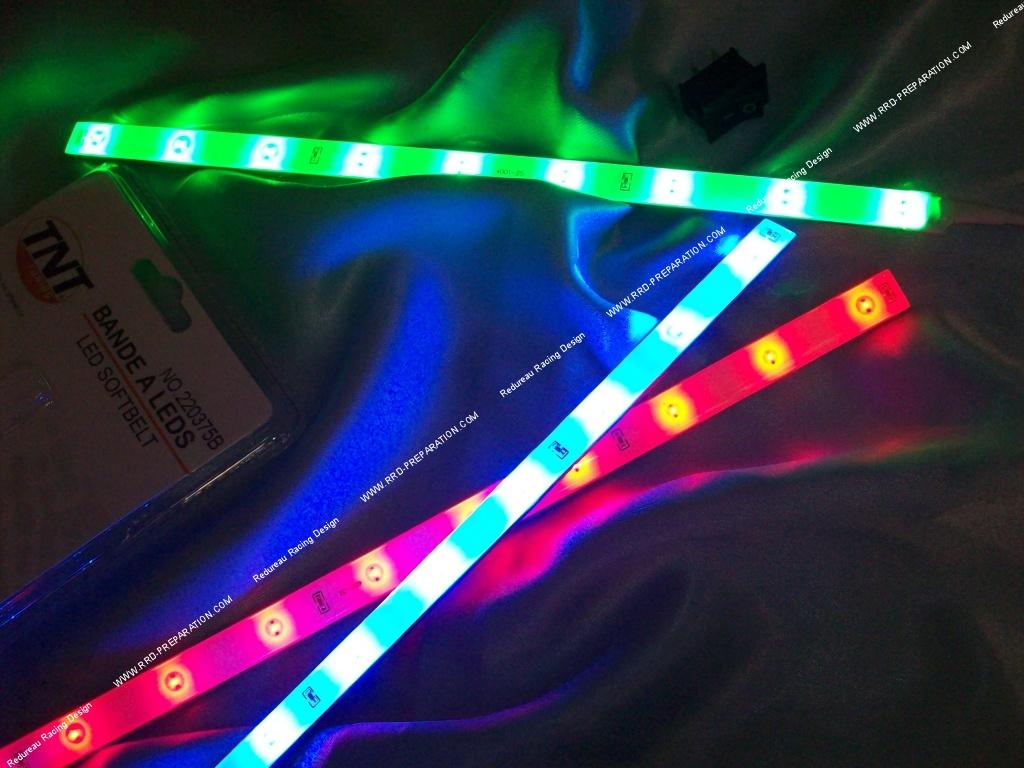 Couleur Avec Du Rouge bande néon flexible et plate avec interrupteur 25cm tnt tuning 9 leds bleu,  blanc, vert, rouge isolant transparent ou noir - www.rrd-preparation