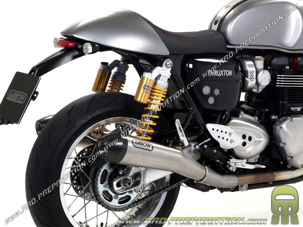 pair of arrow pro racing mufflers for triumph thruxton 1200 and 1200r from 2016. Black Bedroom Furniture Sets. Home Design Ideas
