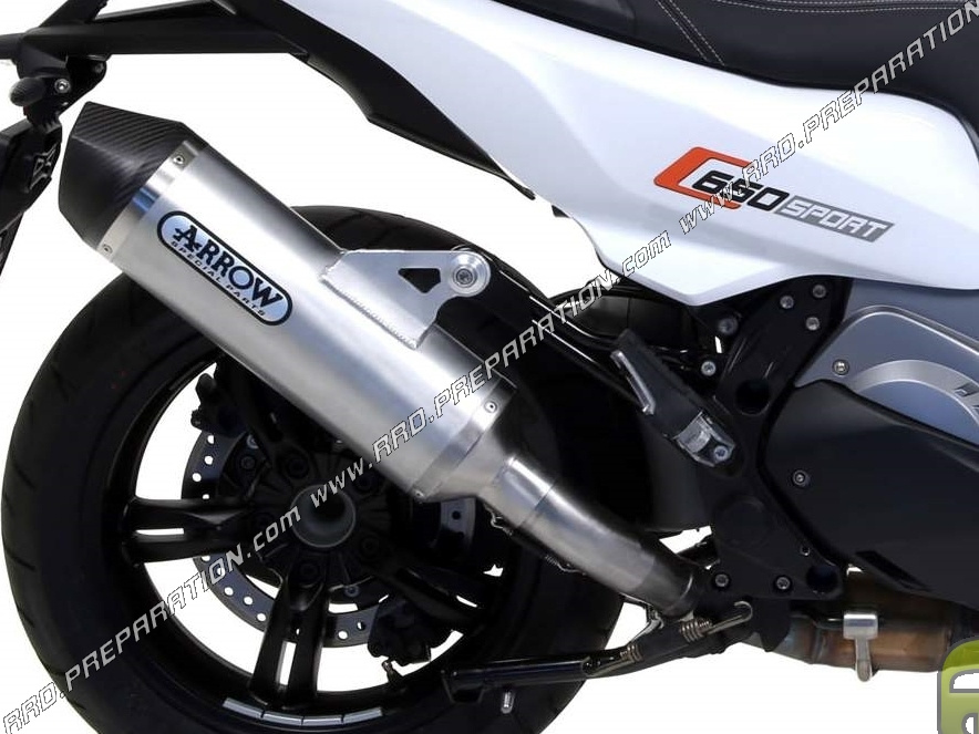 Silencer Arrow Race Tech With Connector For Manifold On Maxi Scooter Bmw C 650 Sport From 2016 Www Rrd Preparation Com