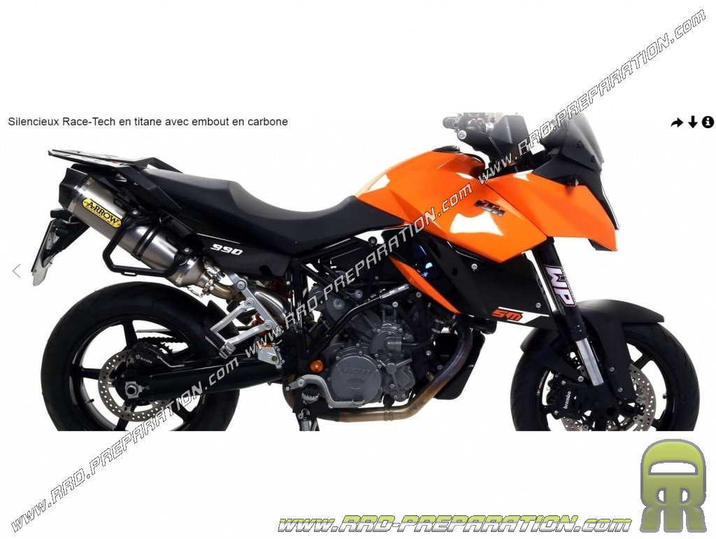 ligne d 39 chappement compl te arrow race tech pour ktm 990 smt de 2009 2013. Black Bedroom Furniture Sets. Home Design Ideas