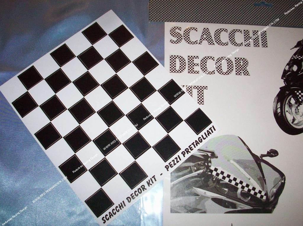 autocollant damier noir / blanc 19x22cm carreaux 2,5x2,5cm - www
