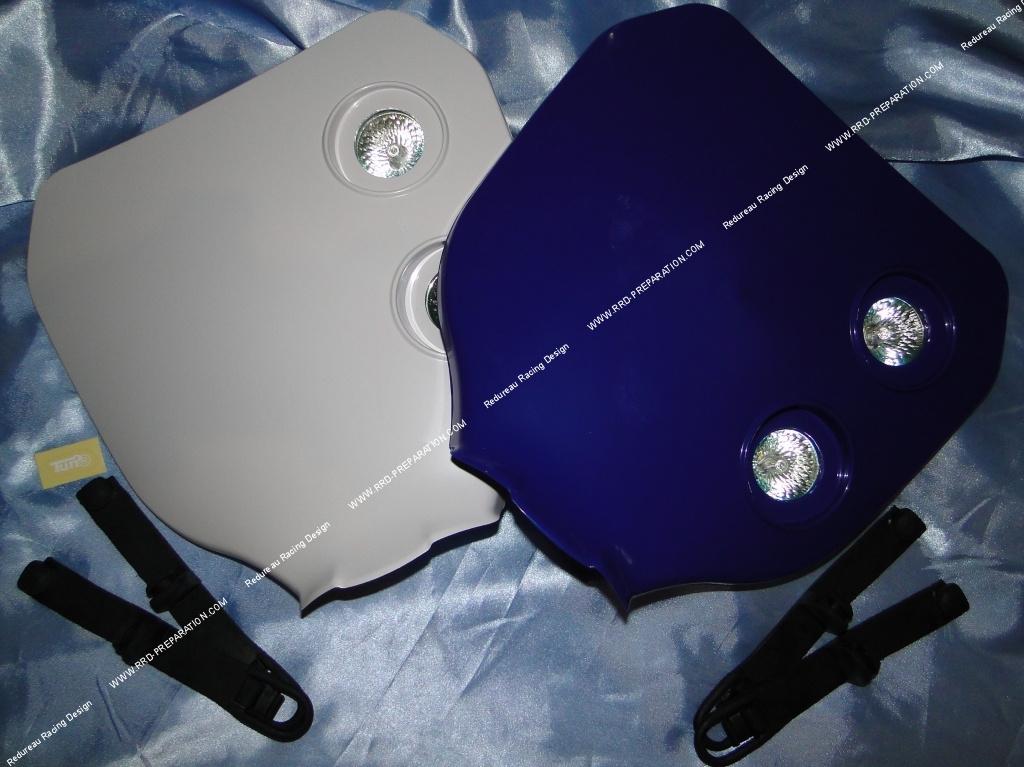 t te de fourche cross tun 39 r avec clairage pour moto bleu blanc ou noir. Black Bedroom Furniture Sets. Home Design Ideas